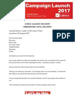 Jacinda Ardern campaign launch speech