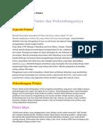 Sejarah Dan Perkembangan Printer Dan Harddisk