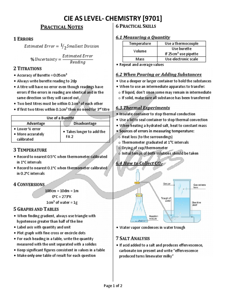 O level chemistry practical notes