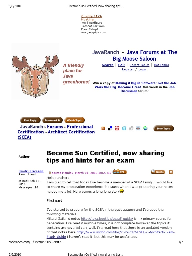 Became Sun Certified, Now Sharing Tips and Hints for an Exam (Architect  Certification (SCEA) Forum at JavaRanch | Java Server Faces | Enterprise  Java Beans