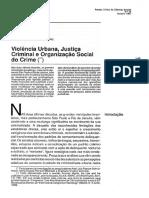 Adorno - Violencia Urbana, Justica Criminal, Organizacao Social do Crime 1990