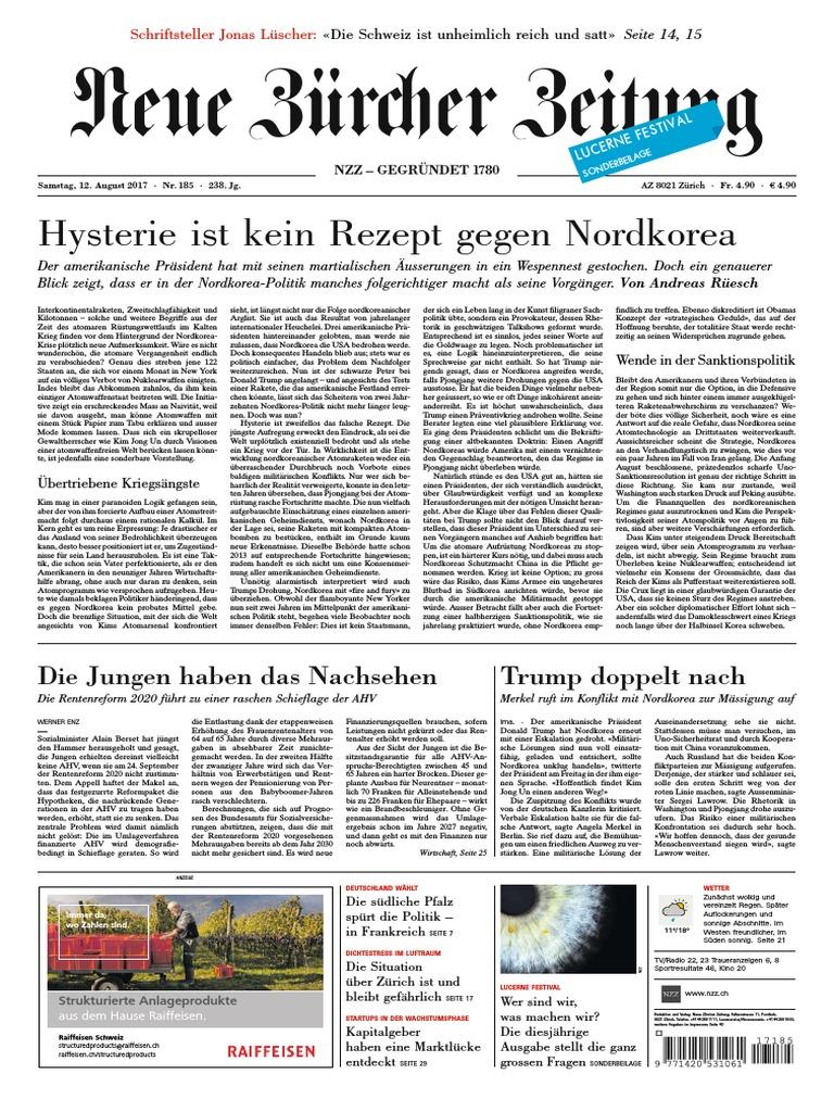 Gesamtausgabe Neue Zrcher Zeitung 2017 08 12