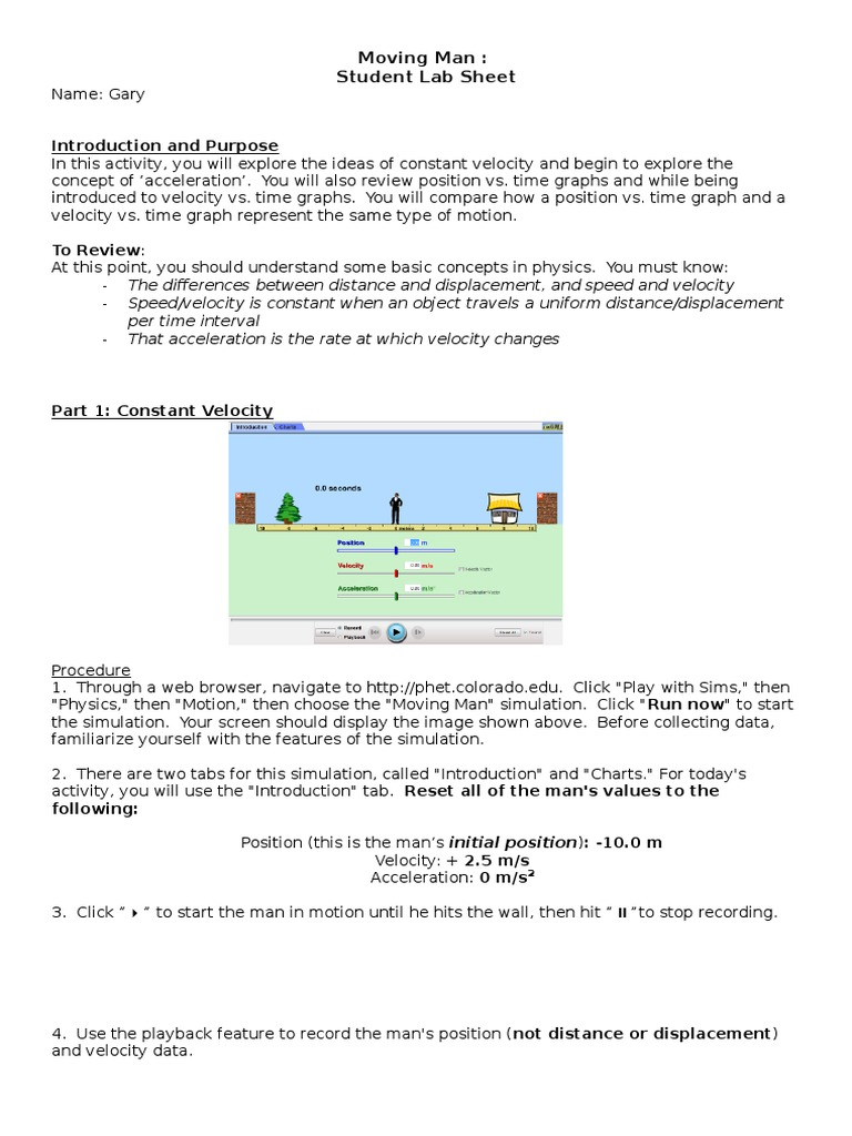 Moving man worksheet velocity acceleration robcynllc Images