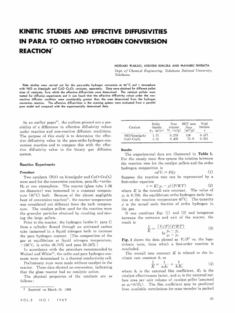 8f0bb6e3336b KINETIC STUDIES AND EFFECTIVE DIFFUSIVITIES IN PARA TO ORTHO HYDROGEN CONVERSION  REACTION