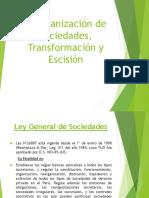 Reorganización de Sociedades, Transformación y Escisión UNMSM - DERECHO COMERCIAL II (SOCIEDADES I)