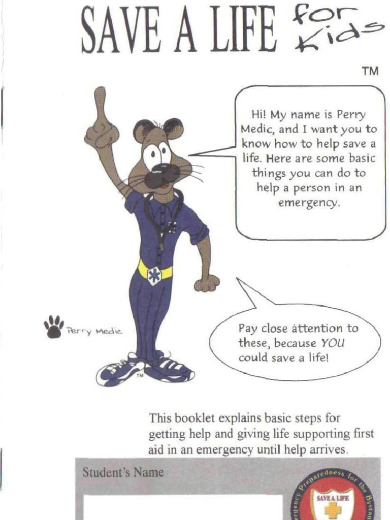 Save-a-Life Foundation (SALF) first aid training pamphlet