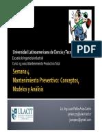 Mantenimiento Preventivo (Conceptos Modelos Análisis)