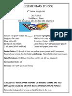 2017-18 fourth grade supply list trailblazers
