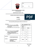 Form 2 English Mid Year 2014 Examination PT3 Formatted Exam