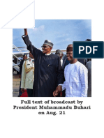 Full Text of Broadcast by Nigeria President Muhammadu Buhari on Aug