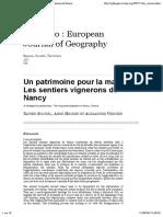 Un Patrimoine Pour La Marche. Les Sentiers Vignerons de Nancy