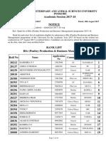 BSc (Poultry Production Business Management) Rank List & Select List