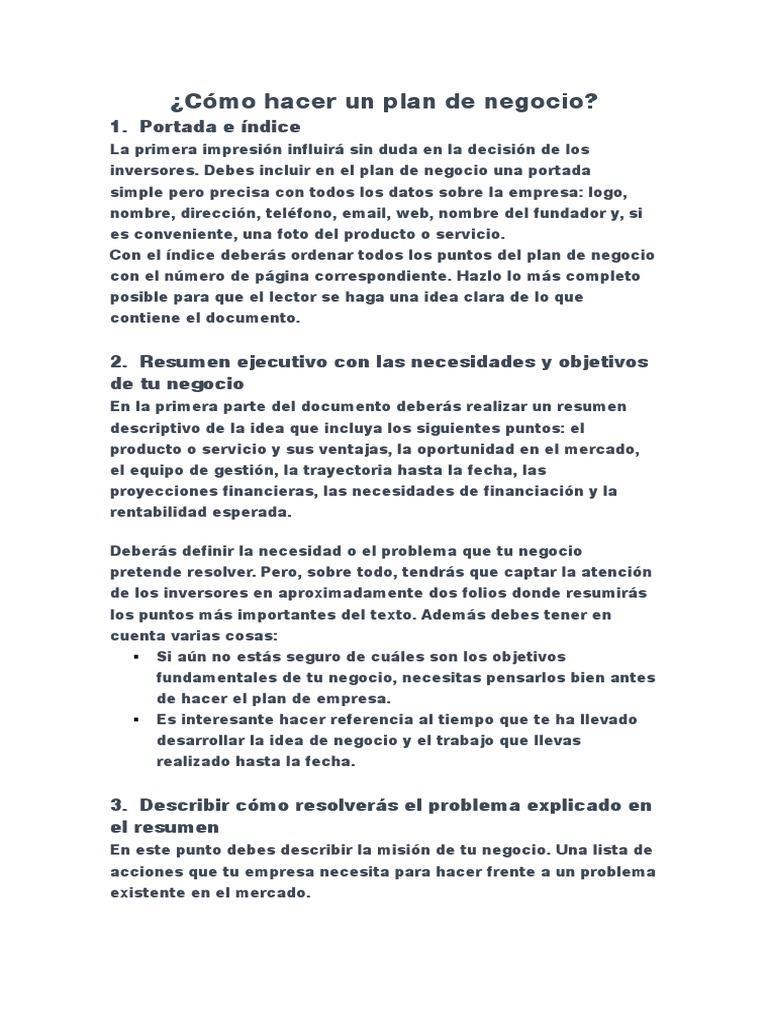 Nice Como Hacer Un Resumen De Idea De Negocio Images - Examples ...