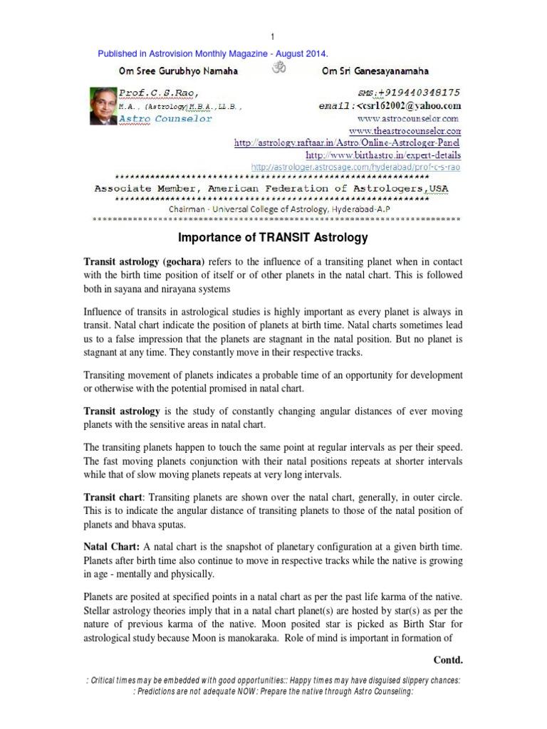 Importance Of Transit Astrologypdf Horoscope Planets