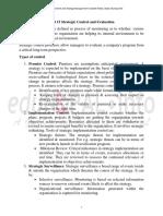 Unit 15 Strategic Control and Evaluation