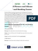 Expected Phrases and Idioms for SSC and Banking Exams Part 2