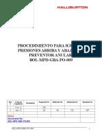 BOL-MPD-GBA-PO-009 Procedimiento Para Igualar Presiones Arriba y Abajo Del Preventor Anular