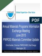 Annual Materials Programs Inf PWROG Materials_June 2015