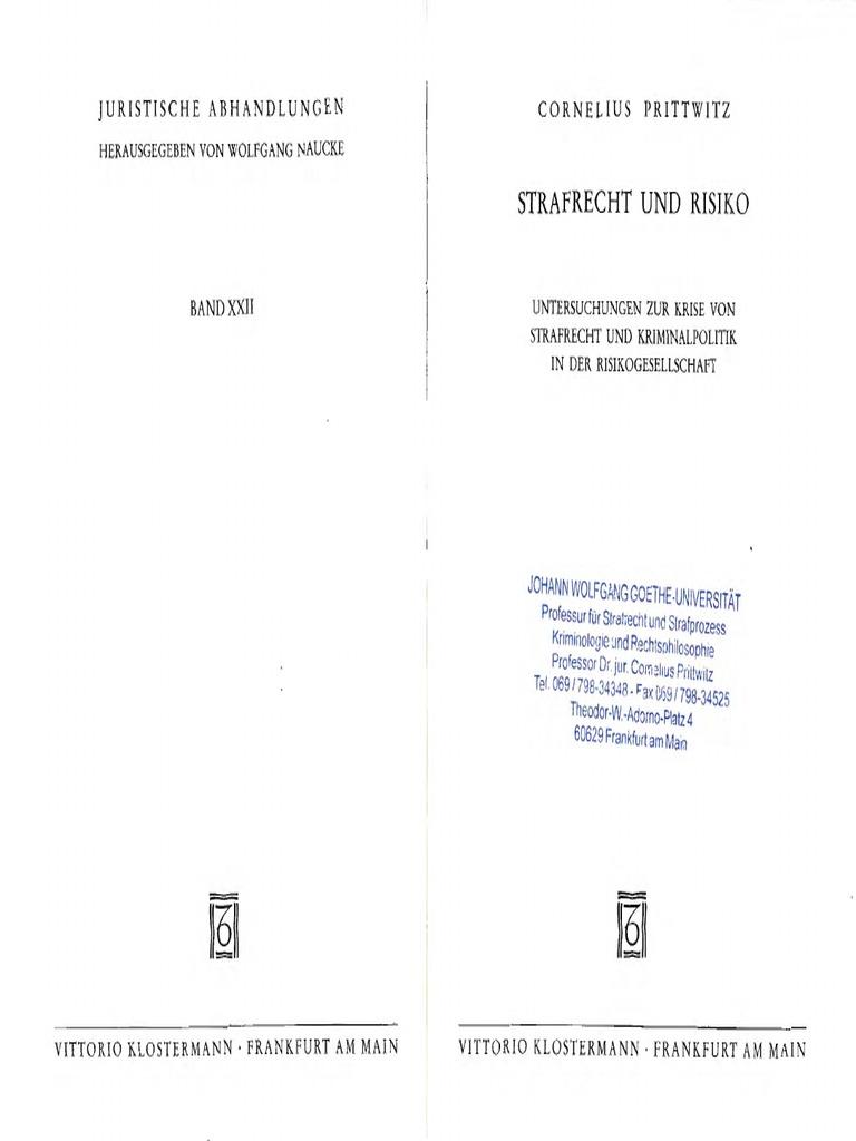 C Prittwitz Strafrecht Und Risiko 1993