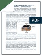 Relación de La Química en La Ingeniería en Electrónica y Automatización