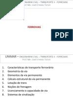 Transporte II - Ferrovias - Aula 6 - Elementos Da via Permanente - TRILHOS - Jan. 2017
