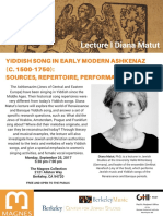 Lecture by Dr. Diana Matut on Yiddish Song in Early Modern Ashkenaz (c. 1500-1750)- Sources, Repertoire, Performance