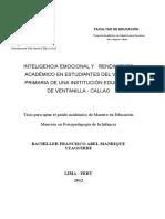 2012_Manrique_Inteligencia Emocional y Rendimiento Académico en Estudiantes Del v Ciclo Primaria de Una Institución Educativa de Ventanill
