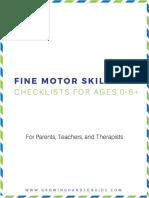 Fine Motor Skills Checklist Packet