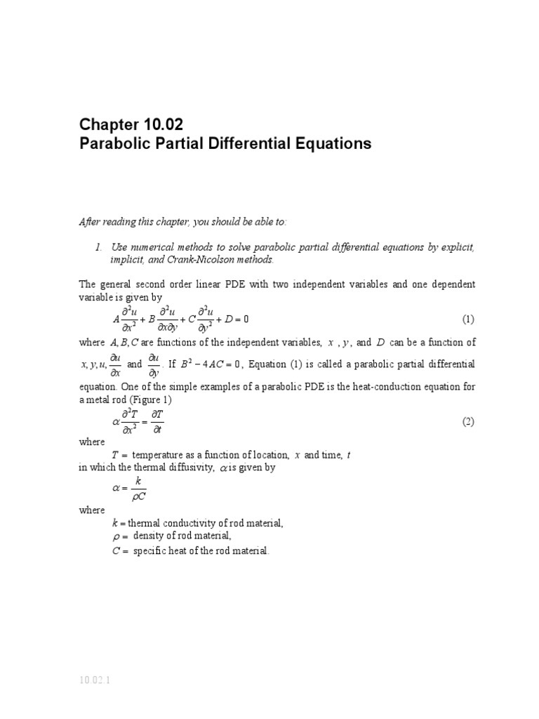 Parabolic Partial Differential Equations: C B A, y D