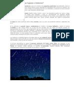 Qué Son Las Estrellas Fugaces o Meteoros