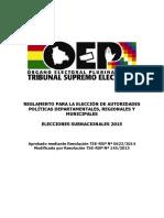 Reglamento para la Elección de autoridades políticas departamentales, regionales y municipales. Elecciones Subnacionales 2015