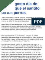 16 de Agosto Día de San Roque El Santito de Los Perros