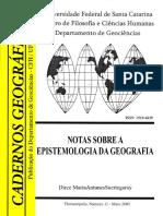 Notas Sobre a Espistemologia Da Geografia. Maio de 2005