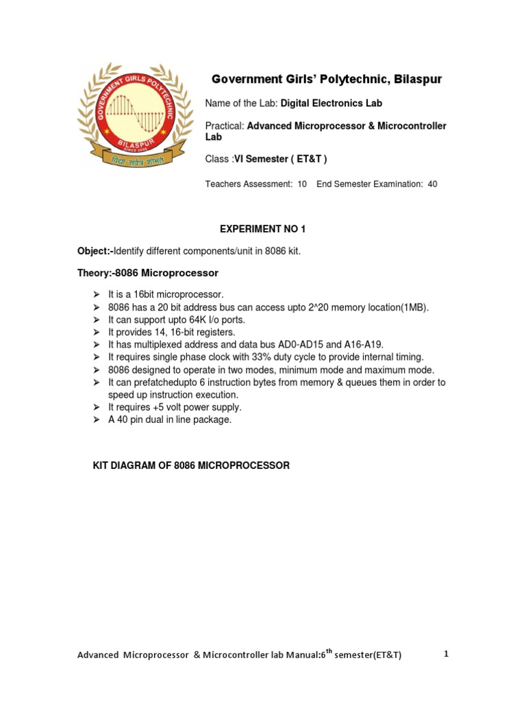 Advanced Microprocessor & Microcontroller Lab Manual - Good | Central  Processing Unit | Computer Hardware