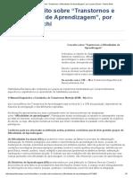 """Leia o Conceito Sobre """"Transtornos e Dificuldades de Aprendizagem"""", Por Luciane Zanchi - Fátima News"""