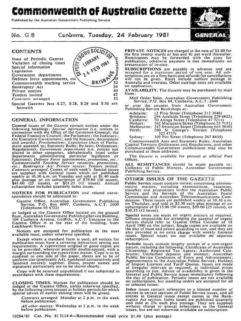 1981GN08 | Government Of Australia | Australia on