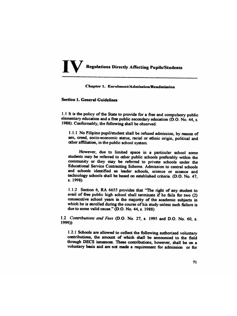 decs service manual 06 iv regulations directly affecting pupils rh scribd com decs service manual 2000 pdf free download decs service manual 2010
