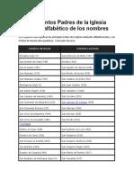 Los Santos Padres de La Iglesia Listado Alfabético de Los Nombres