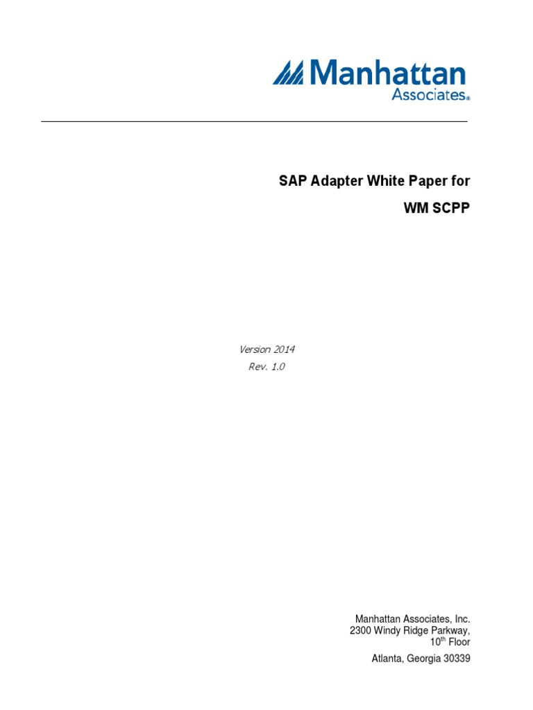 SAP Adapter for WM SCPP Integration White Paper 2014 | Sap