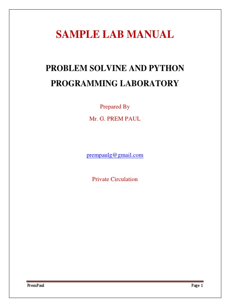 GE8161 Problem Solving and Python Programming Lab manual | Algorithms And  Data Structures | Applied Mathematics