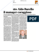 Si è spento Aldo Burello, il manager coraggioso - Il Messaggero Veneto del 22 agosto 2017