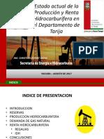 Estado de la Renta y producción Hidrocarburifera en el Departamento de Tarija Bolivia