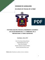 FACTORES QUE INFLUYEN EN EL RENDIMIENTO ACADÉMICO DE LOS ESTUDIANTES DE 3° Y 4° SEMESTRE  DE LA PREPARATORIA 12 TURNO VESPERTINO