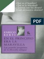 Berti Enrico en El Principio Era La Maravilla Las Grandes Preguntas de La Filosofia Antigua