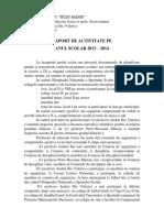 Raport de Activitate - Educatie Fizica, Religie, Economie, Educatie Antreprenoriala, Sociu-umane - 2013 - 2014, Sem.ii