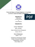 Work Life Balance of Female Employees