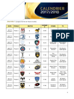 Calendrier Champions Cup 2017 2018
