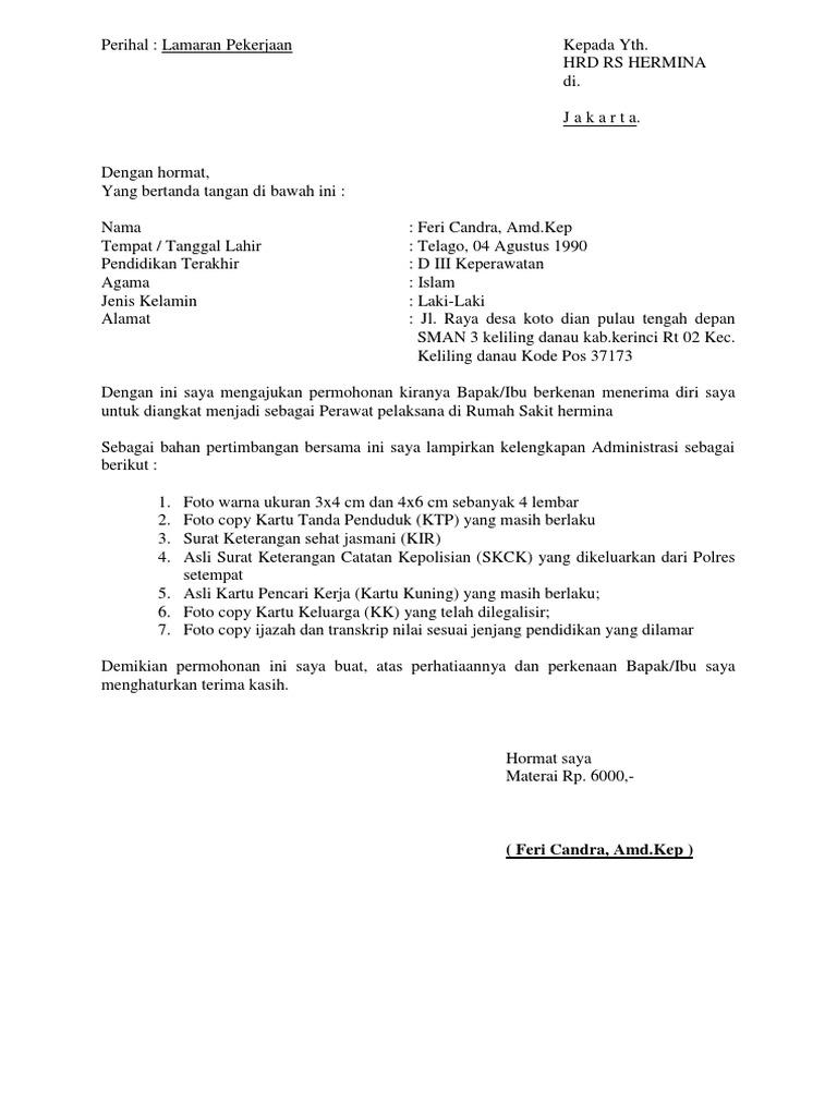 Contoh Surat Lamaran Kerja Rumah Sakit Hermina