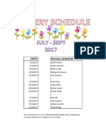 2017 3RD QTR Nursery Schedule
