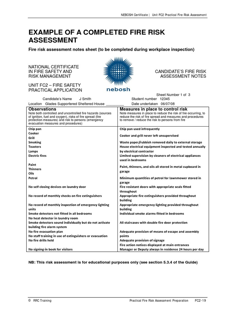 Example Of A Completed Fire Risk Assessmentpdf